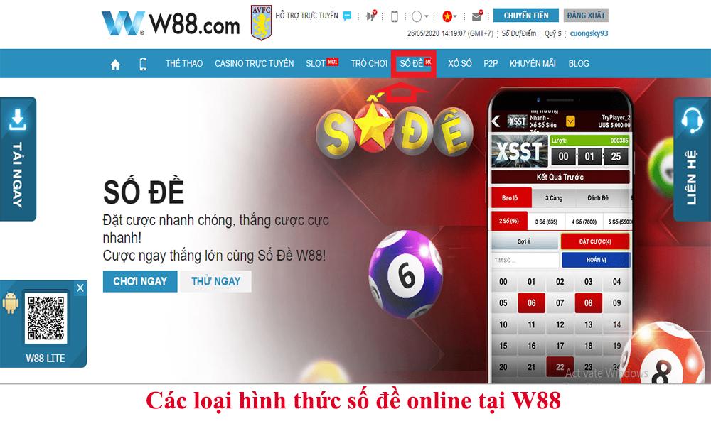 Các loại hình thức số đề online tại W88
