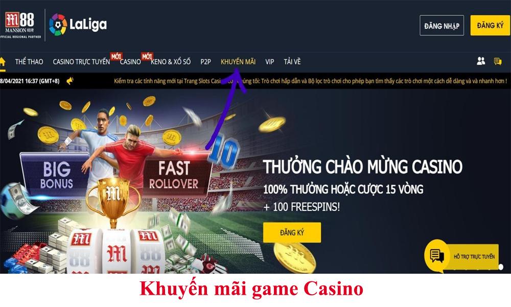 Khuyến mãi game Casino